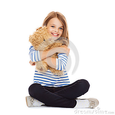 Free Cute Little Girl Hugging Teddy Bear Stock Photos - 33876273