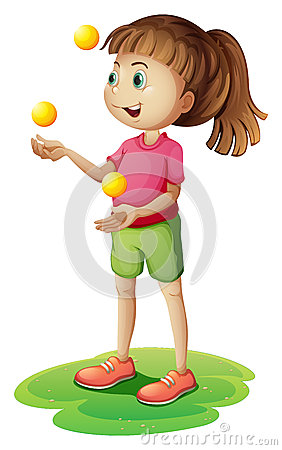 A cute little girl juggling
