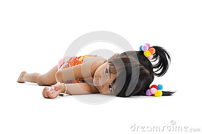 Cute little girl laying down