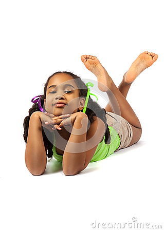 Free Cute Little Girl Lie On The Floor Royalty Free Stock Image - 49958536