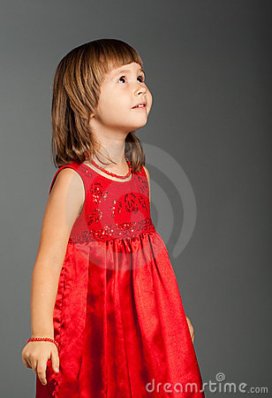 Free Cute Little Girl Looking Up Stock Photo - 12056740