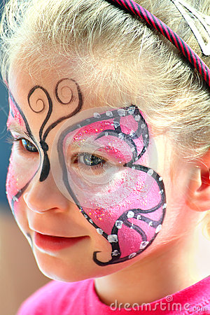 cute little girl with cat makeup stock images  image