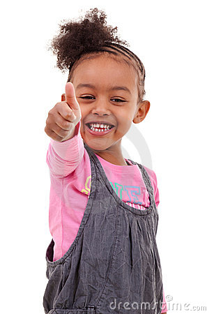 Cute little girl making thumbs up