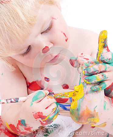Free Cute Little Girl Painting Her Feet Royalty Free Stock Image - 60425456