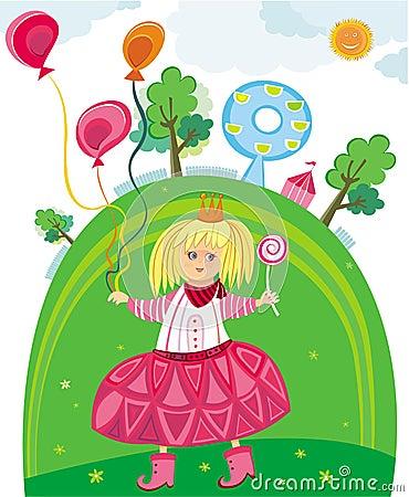 Сute little girl in park