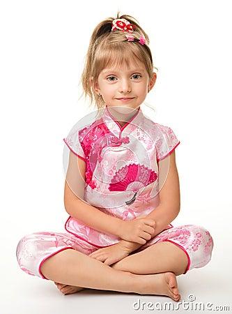 Cute little girl in pink ba ba shirt (Vietnamese)