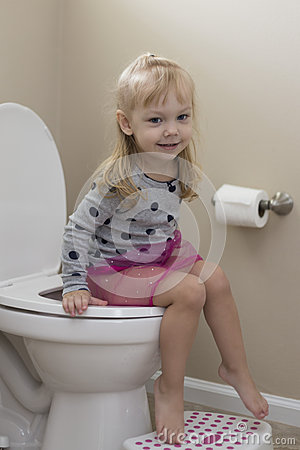 Cute Little Girl Potty Training Stock Photo - Image: 61513042