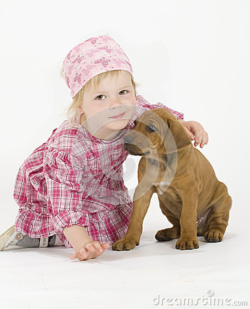 Cute little girl with puppy