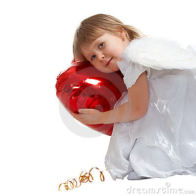 Cute little girl with red heart balloon