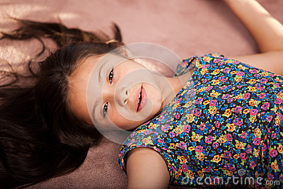 Cute little girl resting
