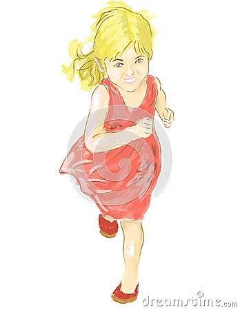 Cute little girl running