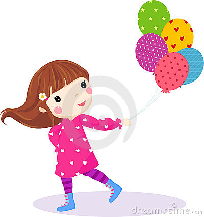 Cute little girl running with balloons