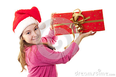Cute little girl with Santa s hat
