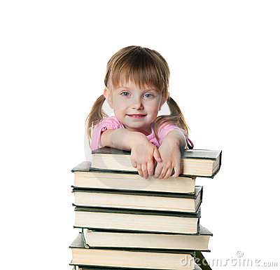 Cute Little Girl Sit Near A Stack Of Big Books Stock Image - Image: 16002951