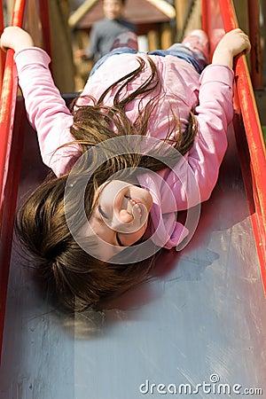 Cute Little Girl on Slide