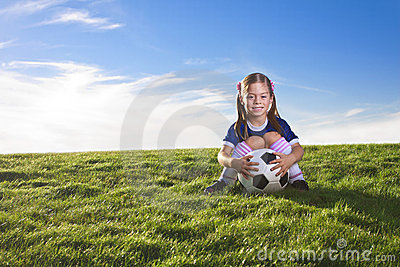 Cute little girl soccer player