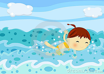 Cute little girl swimming among the sea waves