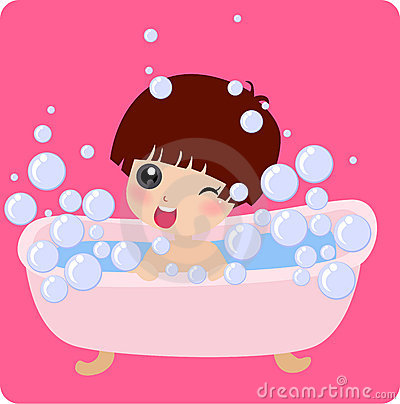 Cute little girl taking a bath