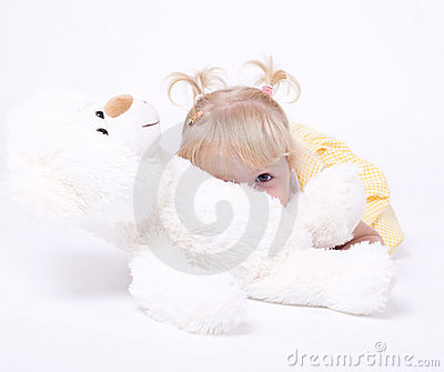 Cute little girl with teddybear