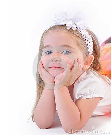 Cute Little Girl Thinking on Isolated White Background