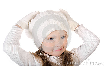 Cute little girl in warm hat and gloves isolated