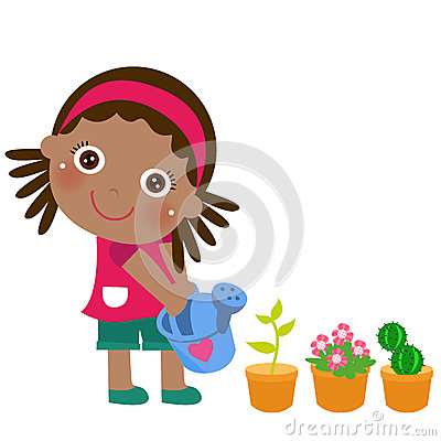 A cute little girl watering flower