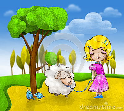 Free Cute Little Girl With A Small Lamb And Two Blue Birds Are Going For A Walk Royalty Free Stock Photography - 95462987