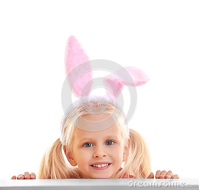 Free Cute Little Girl With Bunny Ears And Basket Full Of Easter Eggs On  Background Stock Image - 105131321