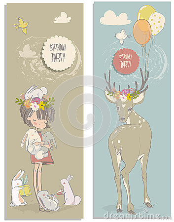 Free Cute Little Girl With Hares And Deer Stock Photography - 76781622