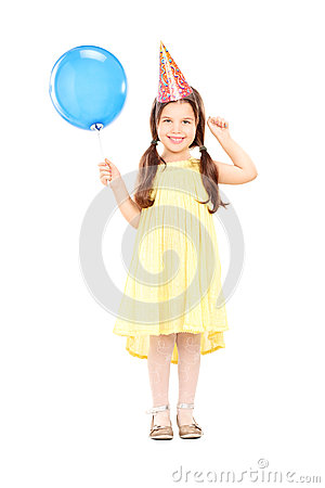 Free Cute Little Girl With Party Hat Holding Balloon Stock Images - 37968904