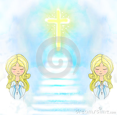 Cute little girls Praying