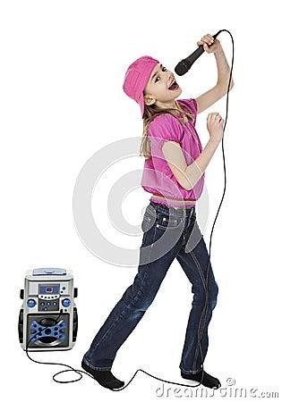 Cute Little Karaoke Singer