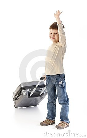 Cute little kid with baggage waving smiling