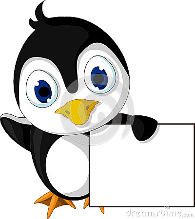 Cute little penguin cartoon holding blank sign