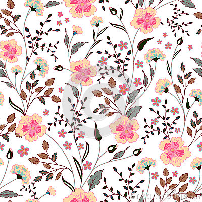 Free Cute Little Pink Flowers Seamless Pattern Background. Vector Stock Photo - 73701090