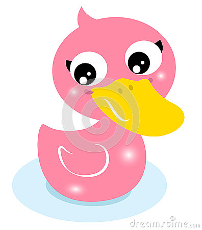 Cute little pink rubber duck