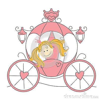 Cute little princess  in the carriage