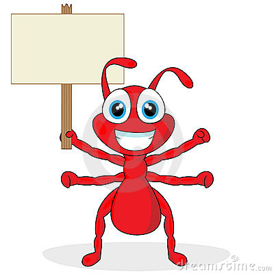 Free Cute Little Red Ant With Wood Sign Stock Photos - 17179313