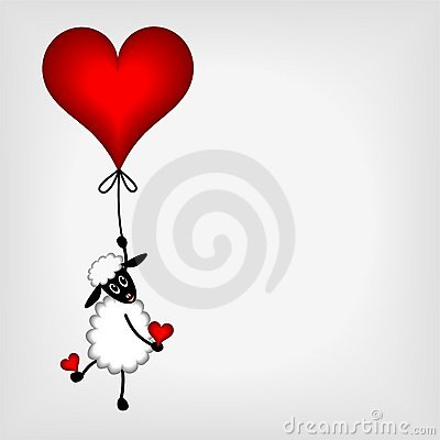 Cute little sheep hanging on red heart - balloon