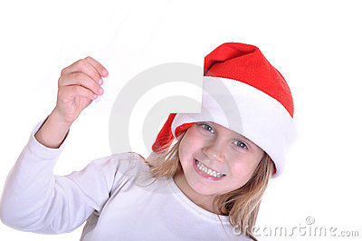 Cute little smiling Santa girl with a banner