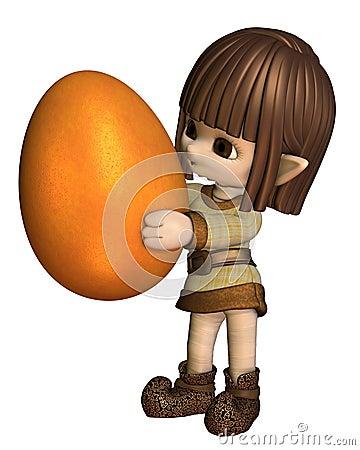 Cute Toon Easter Elf - Orange