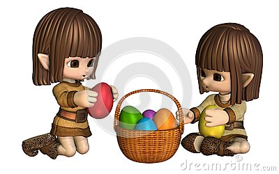 Cute Toon Easter Elves with Basket of Eggs