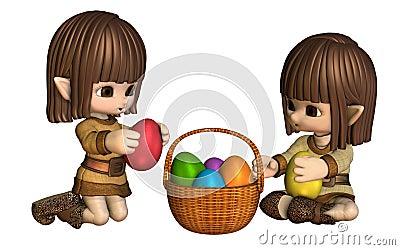 Cute Toon Easter Elves with Basket of Eggs