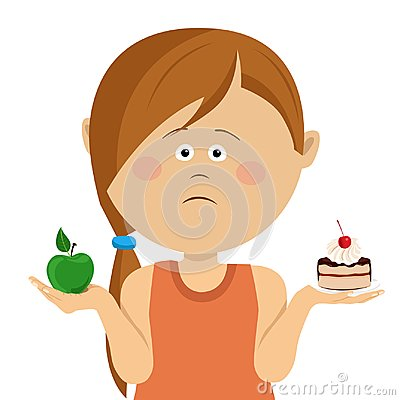 Free Cute Little Unhappy Girl Choosing Between Apple And Sweets, Isolated Over White Royalty Free Stock Photography - 112009837