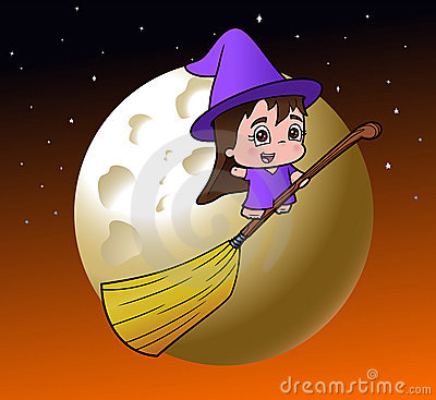 Cute little witch girl on a broom