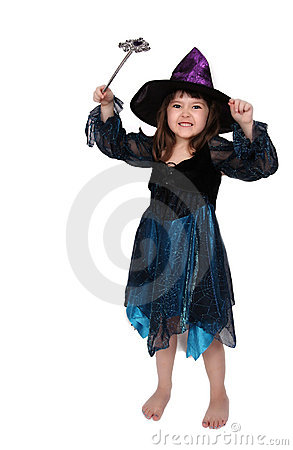Cute little witch isolated on white