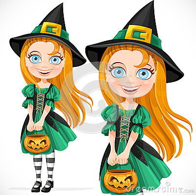 Cute little witch with pumpkin for candy
