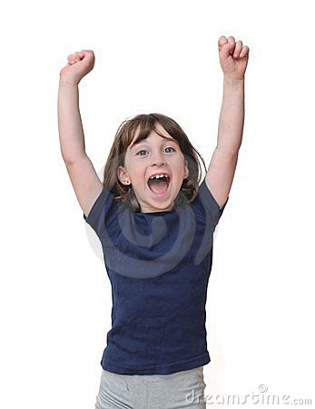 Free Cute Little Years Girl Raises Her Hands Isolated Royalty Free Stock Images - 15317119