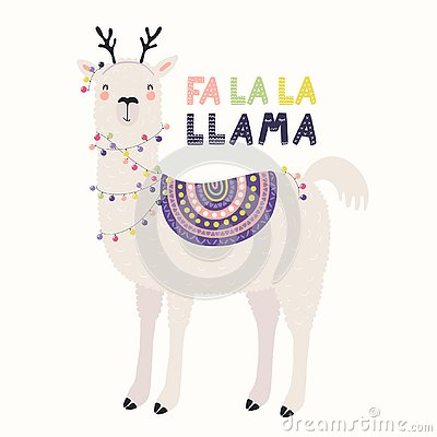 Free Cute Llama Christmas Card Stock Images - 129740154
