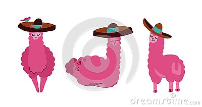 Cute llamas and alpacas set in sombrero. Funny smiling animals isolated on white background. Hand drawn llama character Cartoon Illustration